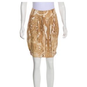 MaxMara Animal Print Skin Cotton Buckle Skirt 2
